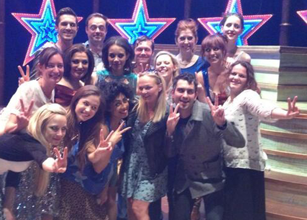 Emma Bunton, Jamie Theakston and the Heart FM Breakfast team with the cast of VIVA FOREVER!