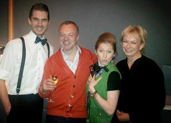 Leon (Simon Adkins) and Minty (Hatty Preston) with Graham Norton and Judy Craymer