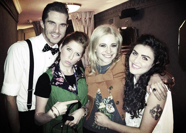 Leon (Simon Adkins) and Minty (Hatty Preston) with Pixie Lott and Carla Nella