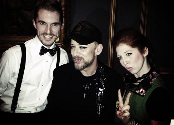 Leon (Simon Adkins) and Minty (Hatty Preston) with Boy George