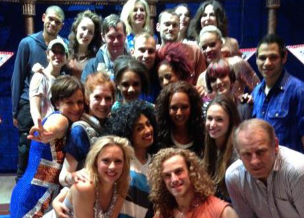 Mel B drops in en route home from Cannes and says hi to the fabulous cast of VIVA FOREVER!